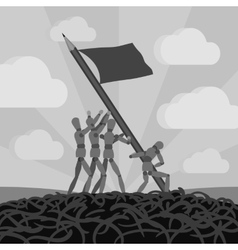 Wooden men establishing the pemcil-flag vector