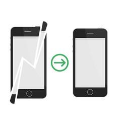 broken and repaired smartphone vector image vector image