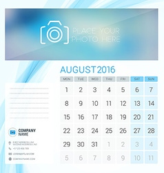 Desk Calendar for 2016 Year August Stationery vector image