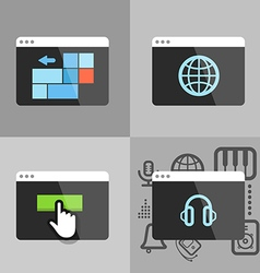 Different icons flows into modern monitor vector image vector image