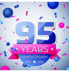 Ninety five years anniversary celebration on grey vector image