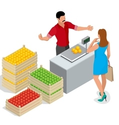 Beautiful woman shopping fresh fruits fruit vector image