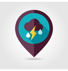 Cloud Rain Lightning flat pin map icon Weather vector image vector image