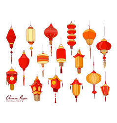 collection of hand drawn chinese red paper street vector image vector image