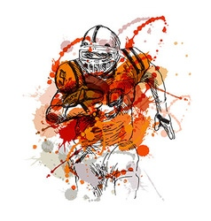 Colored hand sketch of american football player vector image vector image