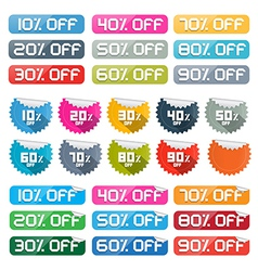 Colorful Discount Stickers Labels Set on White vector image