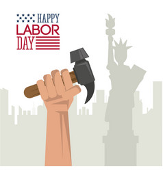 colorful poster of happy labor day with hand vector image vector image