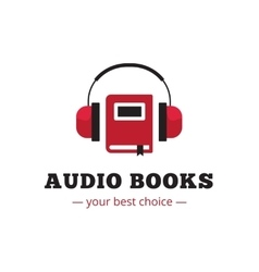 modern audio books store logo Red book and vector image vector image