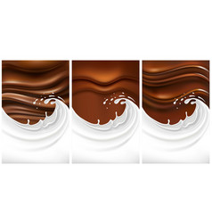 set of milk splash with chocolate vector image