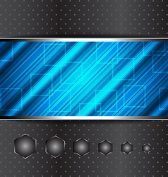 Techno abstract blue background striped texture vector image vector image