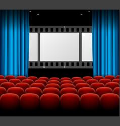 cinema movie retro concept with seats rows film vector image