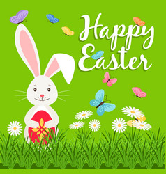 happy easter elements with rabbit vector image