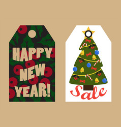 happy new year sale tags with mistletoe and tree vector image