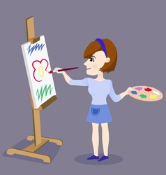 Painting Female Artist vector image