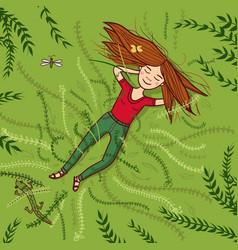 girl lying on grass summer vector image
