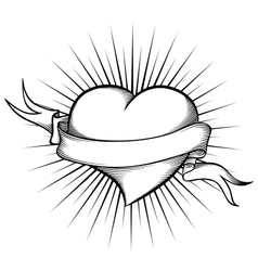 Heart with ribbon in tattoo style vector image vector image