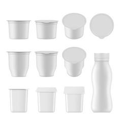natural yogurt realistic package mockup set vector image vector image