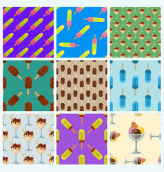 set ice cream seamless pattern background cartoon vector image