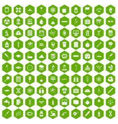 100 laboratory icons hexagon green vector