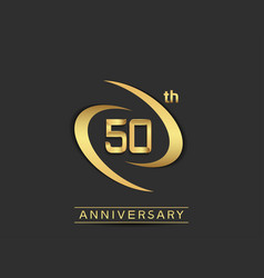50 years anniversary logo style with swoosh ring vector
