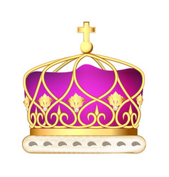a golden imperial crown with pearls on a white vector image