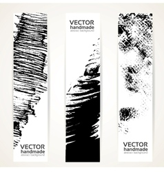 Abstract black ink banner set vector