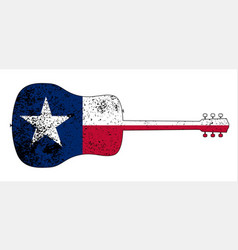 acoustic guitar silhouette with texas flag vector image