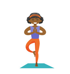 African-american woman practicing yoga tree pose vector