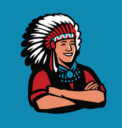 american indian chief symbol warrior mascot vector image