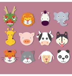 animal icon set faces mask cute of dragon vector image