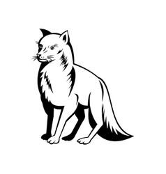 Arctic fox polar fox or snow fox side view retro vector