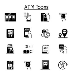 Atm related icons contains such icons as money vector