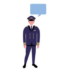 aviation pilot character speech bubble vector image