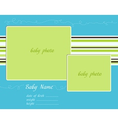 baby arrival blue-green card with photo frames vector image