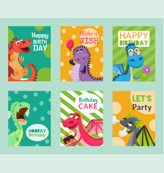 baby dragons set of birthday or invitation cards vector image