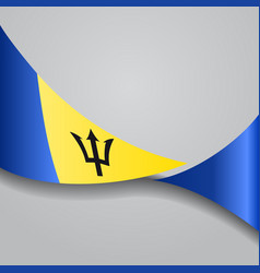 Barbados wavy flag vector
