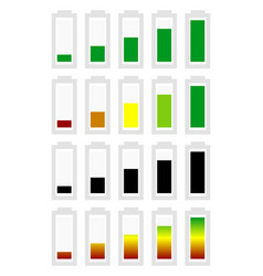 Battery level indicator symbol set from low to vector