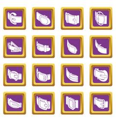 Belt buckle icons set purple square vector
