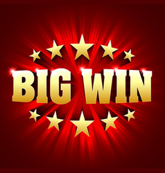 Big win banner background for lottery or casino vector