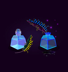 Blue transparent glass magic ink bottles icons set vector