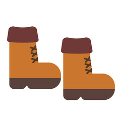 Brown boots flat on white vector