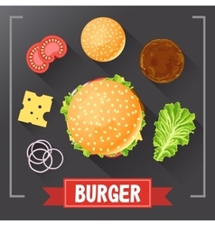 Burger ingredients Burger parts on chalkboard vector image