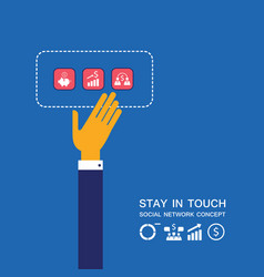 businessman hand touching business icons vector image