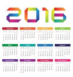 Calendar 2016 Week starts from Sunday vector image