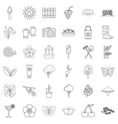 cherry icons set outline style vector image