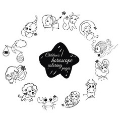 children s horoscope coloring pages vector image