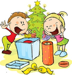 Children under the Christmas tree unwrap gifts vector