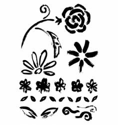 collection of flower ink elements vector image