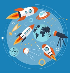 Collection of spaceship planets and stars Cartoon vector image