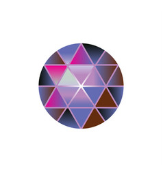 color gem stone round diamonds on white vector image